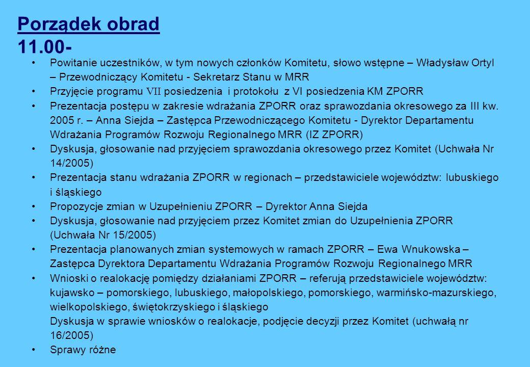 Porządek obrad 11.00- Powitanie uczestników, w tym nowych członków Komitetu, słowo wstępne – Władysław Ortyl – Przewodniczący Komitetu - Sekretarz Sta