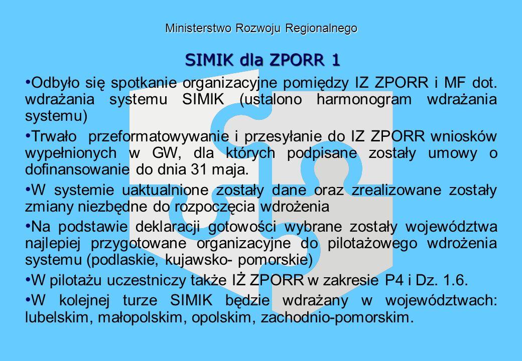 Ministerstwo Rozwoju Regionalnego SIMIK dla ZPORR 1 Odbyło się spotkanie organizacyjne pomiędzy IZ ZPORR i MF dot. wdrażania systemu SIMIK (ustalono h