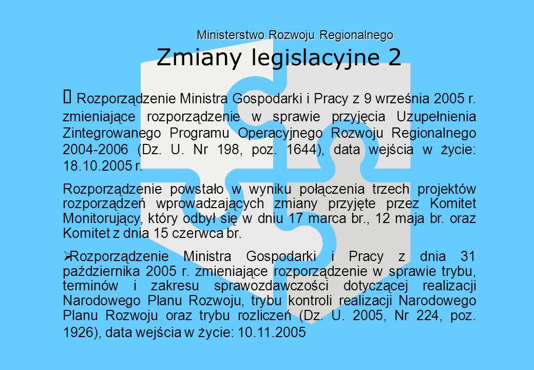 Ministerstwo Rozwoju Regionalnego Ministerstwo Rozwoju Regionalnego Zmiany legislacyjne 2 Rozporządzenie Ministra Gospodarki i Pracy z 9 września 2005