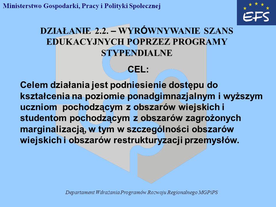 Departament Wdrażania Programów Rozwoju Regionalnego MGPiPS DZIAŁANIE 2.2.