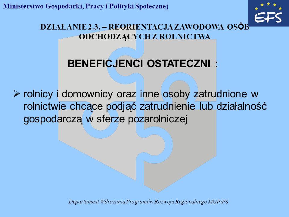Departament Wdrażania Programów Rozwoju Regionalnego MGPiPS DZIAŁANIE 2.3.