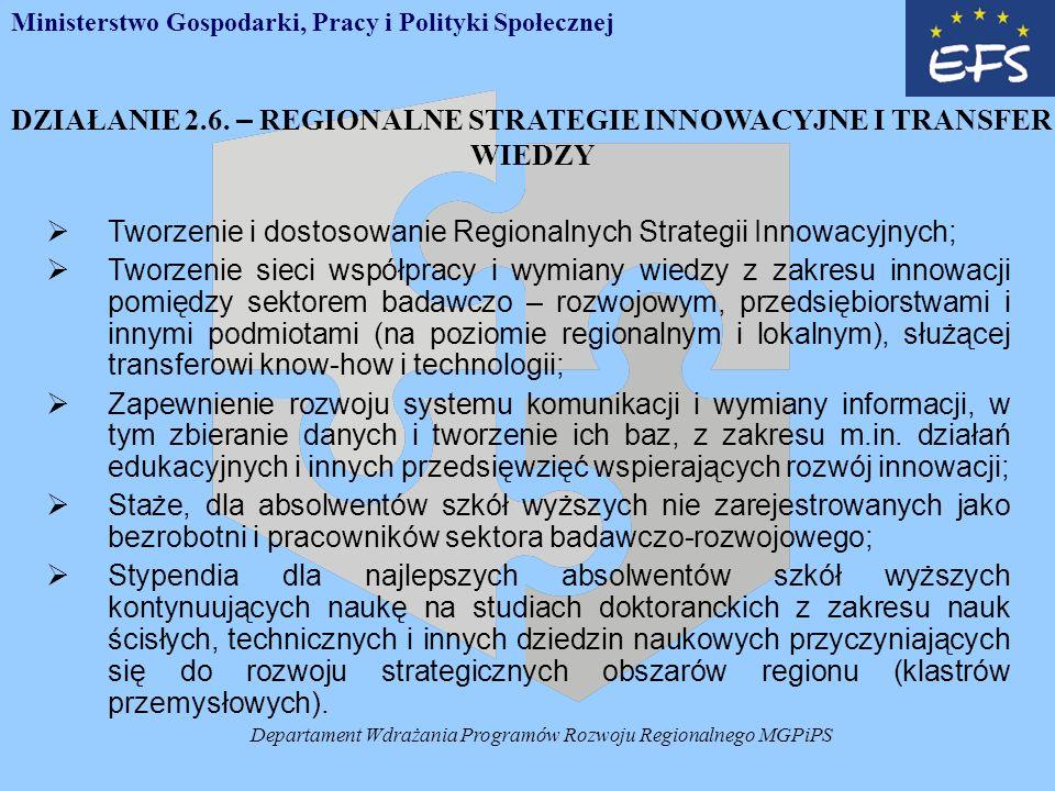 Departament Wdrażania Programów Rozwoju Regionalnego MGPiPS DZIAŁANIE 2.6.