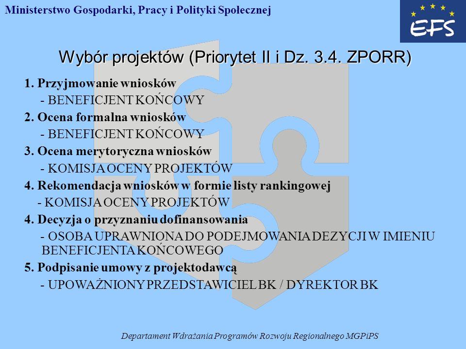 Departament Wdrażania Programów Rozwoju Regionalnego MGPiPS Wybór projektów (Priorytet II i Dz.