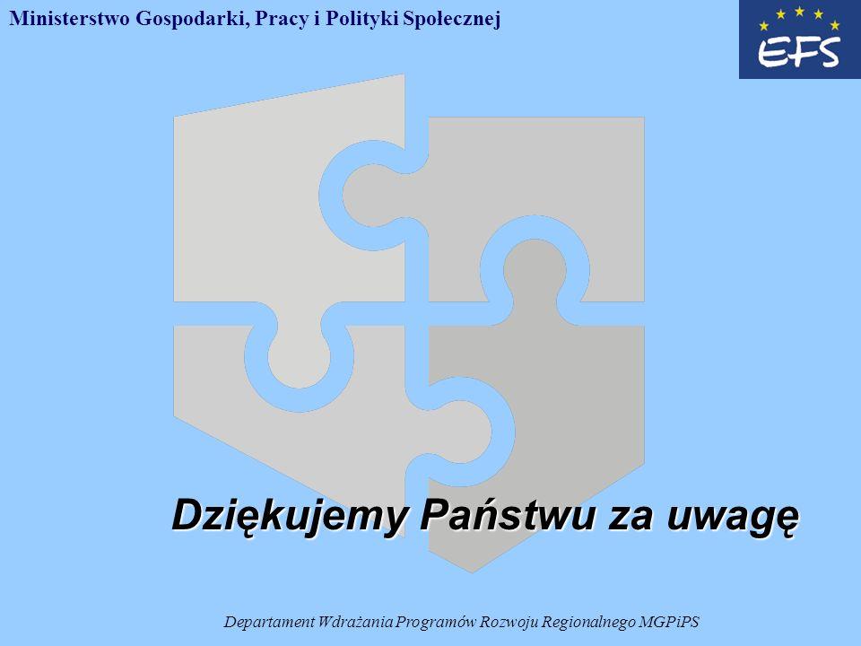 Departament Wdrażania Programów Rozwoju Regionalnego MGPiPS Dziękujemy Państwu za uwagę Ministerstwo Gospodarki, Pracy i Polityki Społecznej