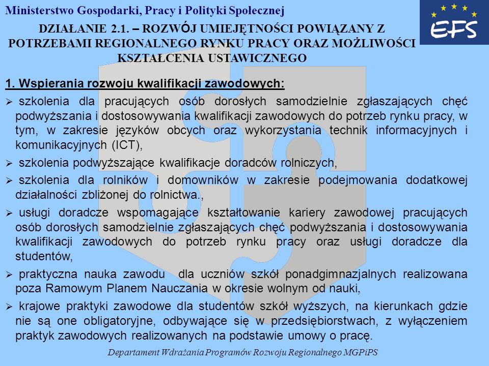 Departament Wdrażania Programów Rozwoju Regionalnego MGPiPS 1.