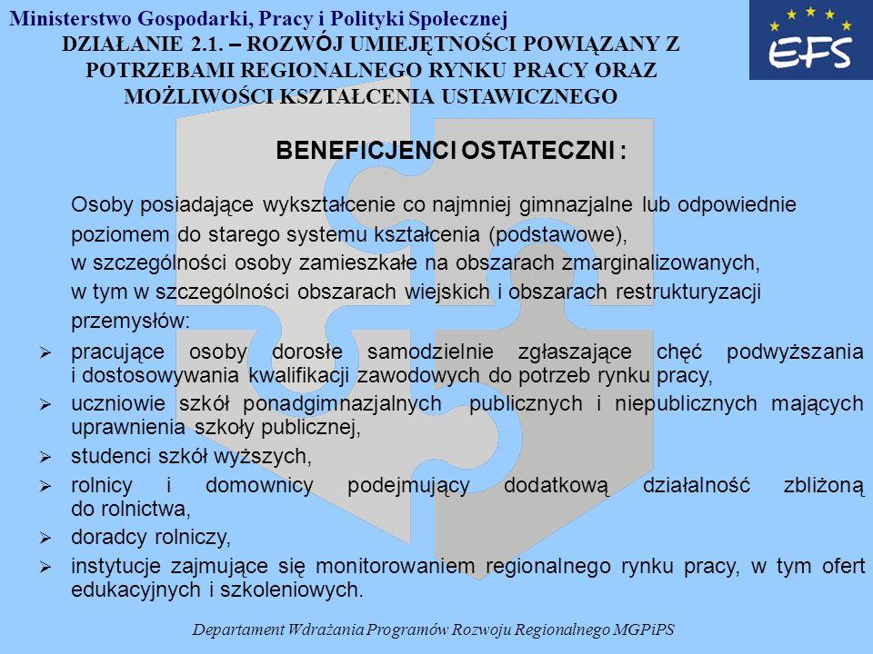 Departament Wdrażania Programów Rozwoju Regionalnego MGPiPS DZIAŁANIE 2.1.