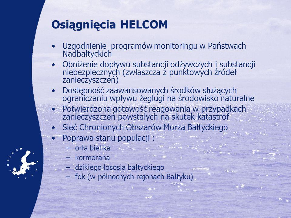 Osiągnięcia HELCOM Uzgodnienie programów monitoringu w Państwach Nadbałtyckich Obniżenie dopływu substancji odżywczych i substancji niebezpiecznych (z