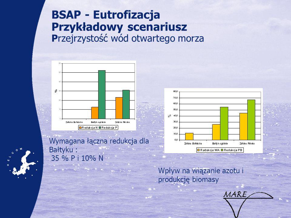 BSAP - Eutrofizacja Przykładowy scenariusz Przejrzystość wód otwartego morza Wpływ na wiązanie azotu i produkcję biomasy Wymagana łączna redukcja dla