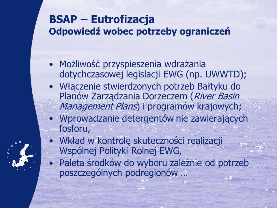 BSAP – Eutrofizacja Odpowiedź wobec potrzeby ograniczeń Możliwość przyspieszenia wdrażania dotychczasowej legislacji EWG (np. UWWTD); Włączenie stwier