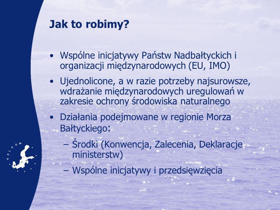 Od Wizji do Planu działań na rzecz Morza Bałtyckiego Wyjątkowe szanse i przykład dla innych regionalnych programów ochrony mórz Wykorzystanie ugruntowanej współpracy regionalnej i szeroki udział zainteresowanych stron (na szczeblu rządów, przedstawicieli przemysłu, organizacji pozarządowych itp.) Oparcie w rzetelnej naukowej wiedzy o środowisku Skuteczne powiązanie z działaniami podejmowanymi na szczeblu krajowym i międzynarodowym : –Plan uznawany przez EWG jako pilotażowy przykład regionalnej realizacji Europejskiej Strategii Morskiej, –Wkład to Planów Zarządzania Dorzeczem (River Basin Management Plans) Jednolite ustawodawstwo w zakresie ochrony środowiska naturalnego na większości obszaru objętego planem działania Wysoka świadomość społeczna