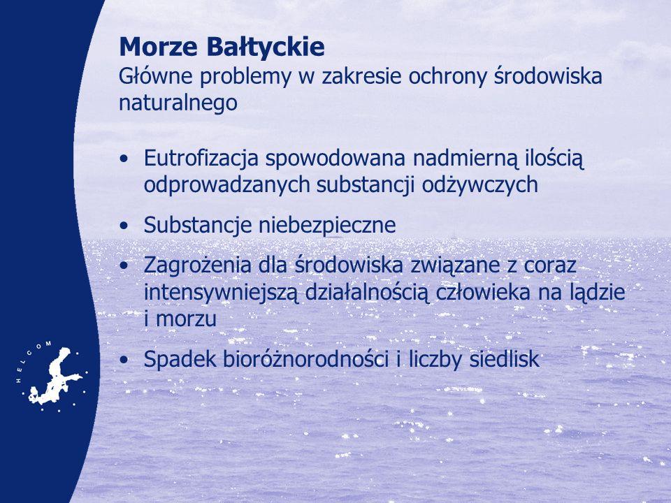 Eutrofizacja – dopływ substancji odżywczych Ilość azotu i fosforu odprowadzanego do Bałtyku na głowę mieszkańca, dane uśrednione za lata 1997-2003 Azot, odprowadzana ilość głowę mieszkańca 0.00 5.00 10.00 15.00 20.00 25.00 30.00 35.00 Niemcy Dania Estonia Finlandia Litwa Łotwa Rosja Polska Szwecja Średnia kg/ind Fosfor, odprowadzana ilość głowę mieszkańca 0.00 0.10 0.20 0.30 0.40 0.50 0.60 0.70 0.80 0.90 1.00 Niemcy Dania Estonia Finlandia Litwa Łotwa Rosja Polska Szwecja SUMA kg/ind