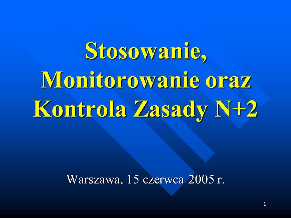 1 Stosowanie, Monitorowanie oraz Kontrola Zasady N+2 Warszawa, 15 czerwca 2005 r.