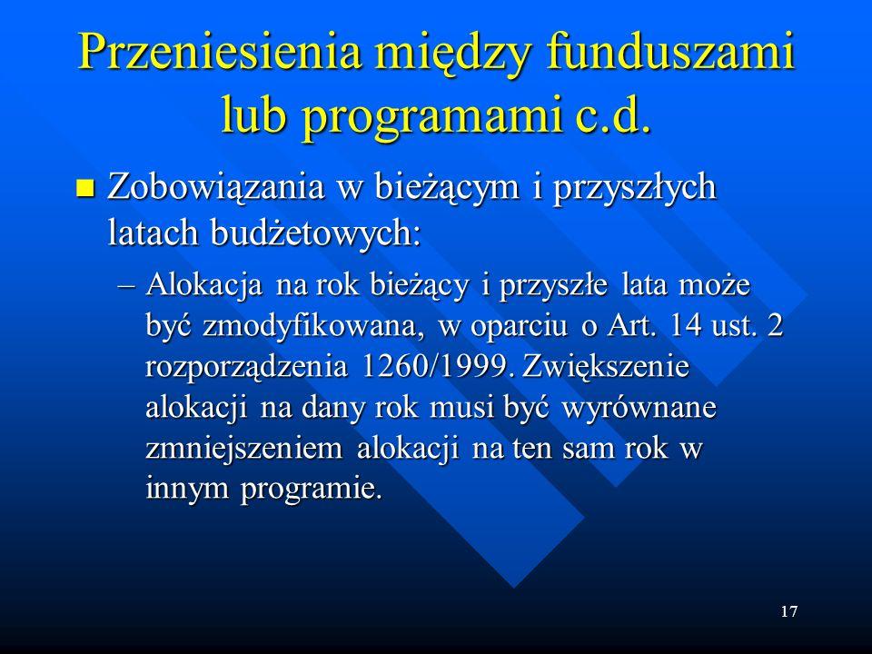 17 Przeniesienia między funduszami lub programami c.d.