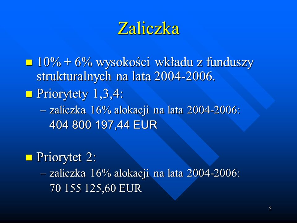 5 Zaliczka 10% + 6% wysokości wkładu z funduszy strukturalnych na lata 2004-2006.