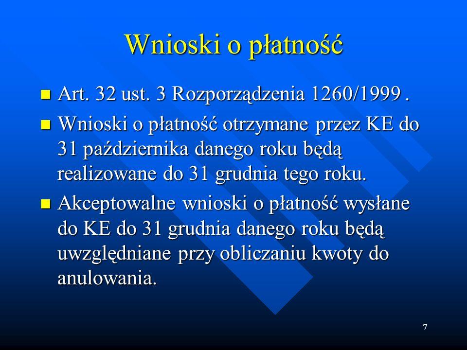 7 Wnioski o płatność Art. 32 ust. 3 Rozporządzenia 1260/1999.