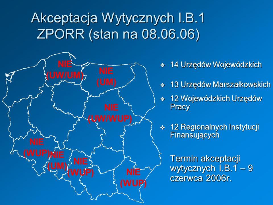 NIE (UW/UM) NIE (UW/WUP) NIE (UM) Akceptacja Wytycznych I.B.1 ZPORR (stan na 08.06.06) NIE (UM) 14 Urzędów Wojewódzkich 14 Urzędów Wojewódzkich 13 Urz