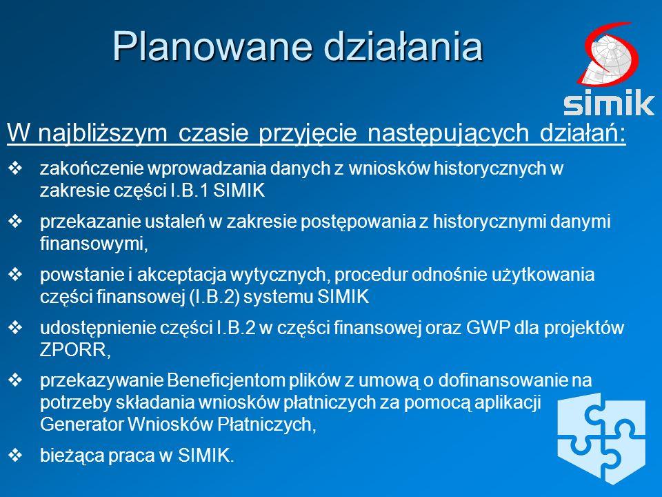 W najbliższym czasie przyjęcie następujących działań: zakończenie wprowadzania danych z wniosków historycznych w zakresie części I.B.1 SIMIK przekazan