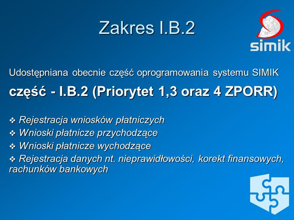 Udostępniana obecnie część oprogramowania systemu SIMIK część - I.B.2 (Priorytet 1,3 oraz 4 ZPORR) Rejestracja wniosków płatniczych Rejestracja wniosk