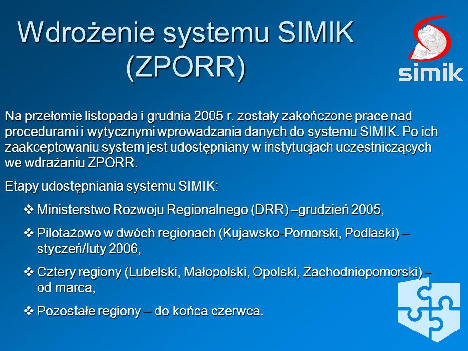 Na przełomie listopada i grudnia 2005 r. zostały zakończone prace nad procedurami i wytycznymi wprowadzania danych do systemu SIMIK. Po ich zaakceptow