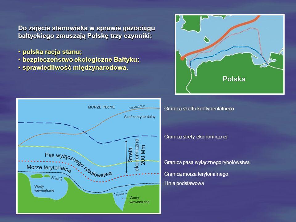 Do zajęcia stanowiska w sprawie gazociągu bałtyckiego zmuszają Polskę trzy czynniki: polska racja stanu; polska racja stanu; bezpieczeństwo ekologiczn