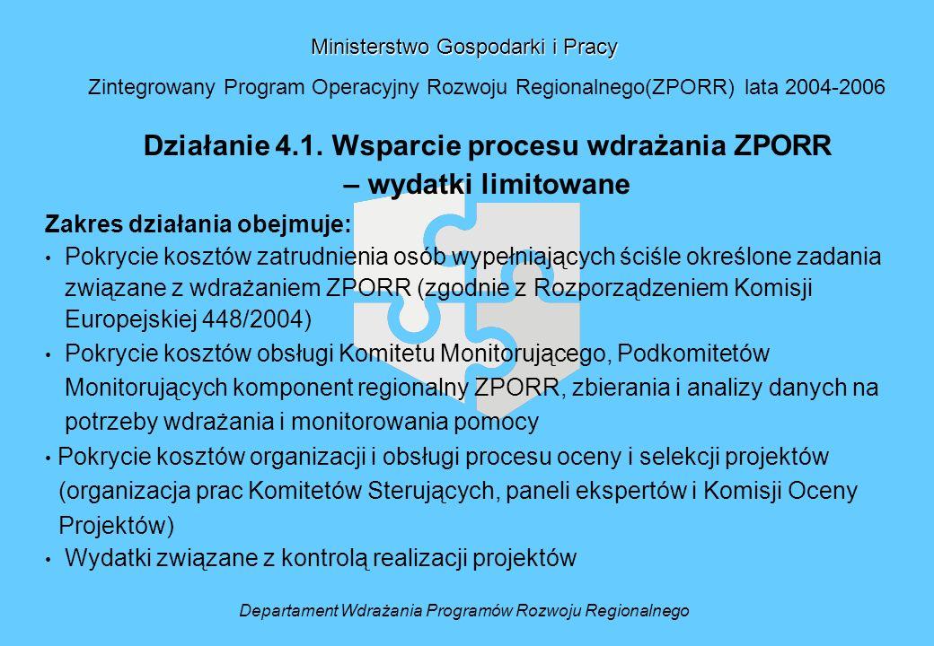 Ministerstwo Gospodarki i Pracy Zintegrowany Program Operacyjny Rozwoju Regionalnego(ZPORR) lata 2004-2006 Działanie 4.1. Wsparcie procesu wdrażania Z
