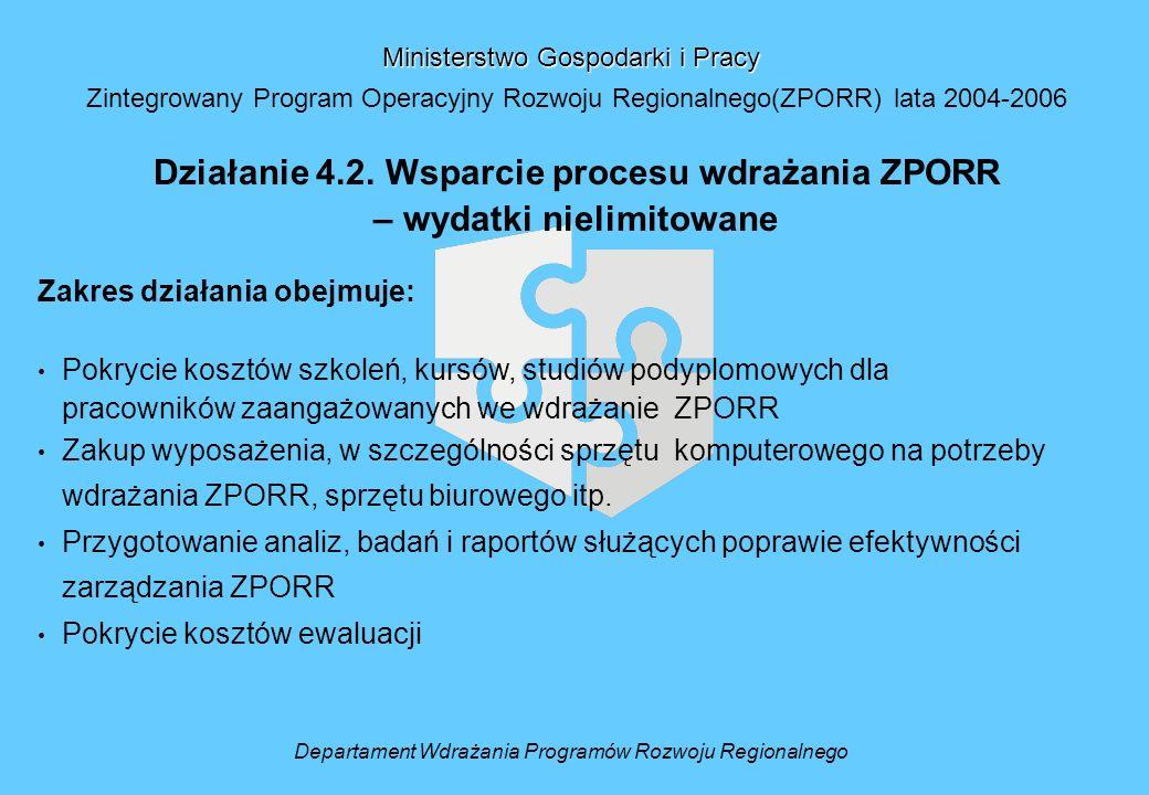 Departament Wdrażania Programów Rozwoju Regionalnego Ministerstwo Gospodarki i Pracy Zintegrowany Program Operacyjny Rozwoju Regionalnego(ZPORR) lata 2004-2006 Działanie 4.2.