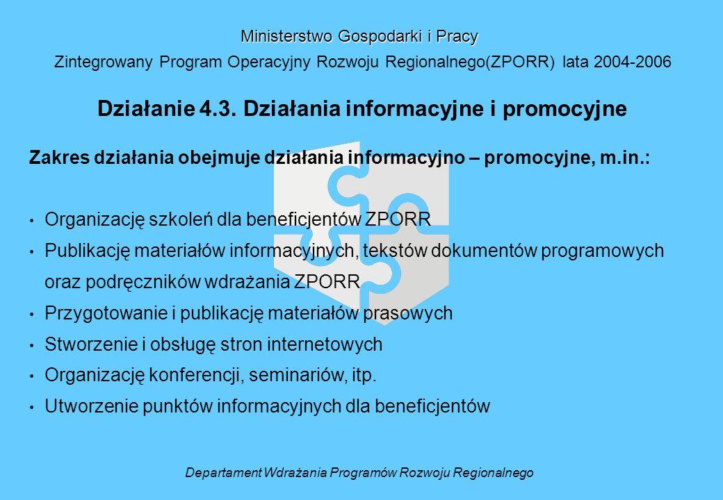 Departament Wdrażania Programów Rozwoju Regionalnego Ministerstwo Gospodarki i Pracy Zintegrowany Program Operacyjny Rozwoju Regionalnego(ZPORR) lata 2004-2006 Działanie 4.3.