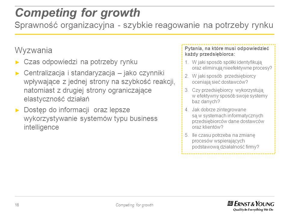 18 Competing for growth Wyzwania Czas odpowiedzi na potrzeby rynku Centralizacja i standaryzacja – jako czynniki wpływające z jednej strony na szybkoś