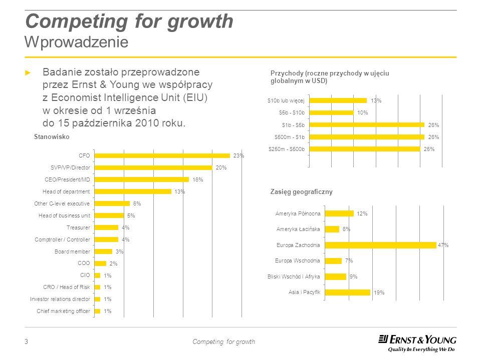 3 Competing for growth Competing for growth Wprowadzenie Badanie zostało przeprowadzone przez Ernst & Young we współpracy z Economist Intelligence Uni