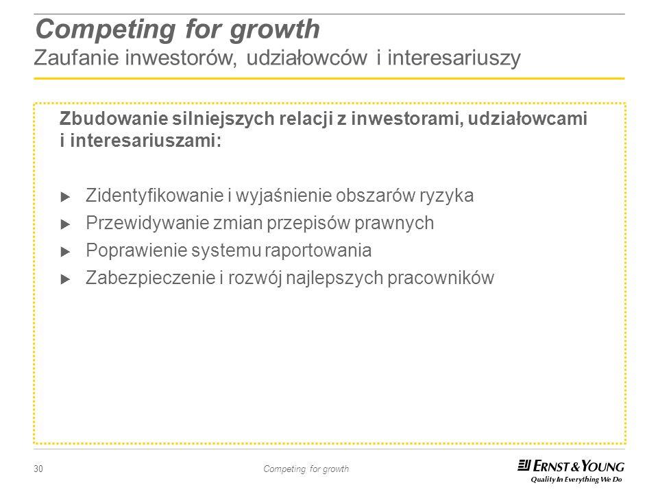 30 Competing for growth Competing for growth Zaufanie inwestorów, udziałowców i interesariuszy Zbudowanie silniejszych relacji z inwestorami, udziałow