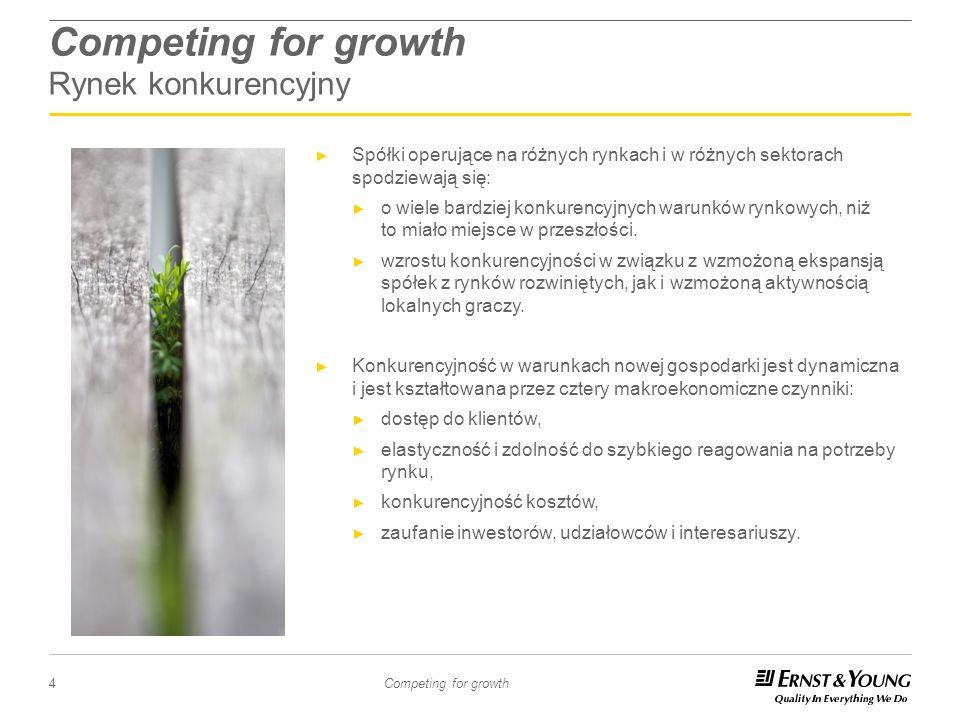 4 Competing for growth Competing for growth Rynek konkurencyjny Spółki operujące na różnych rynkach i w różnych sektorach spodziewają się: o wiele bar