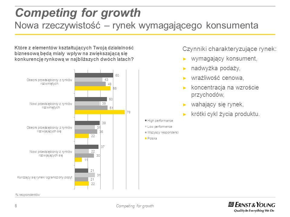 8 Competing for growth Competing for growth Nowa rzeczywistość – rynek wymagającego konsumenta Czynniki charakteryzujące rynek: wymagający konsument,
