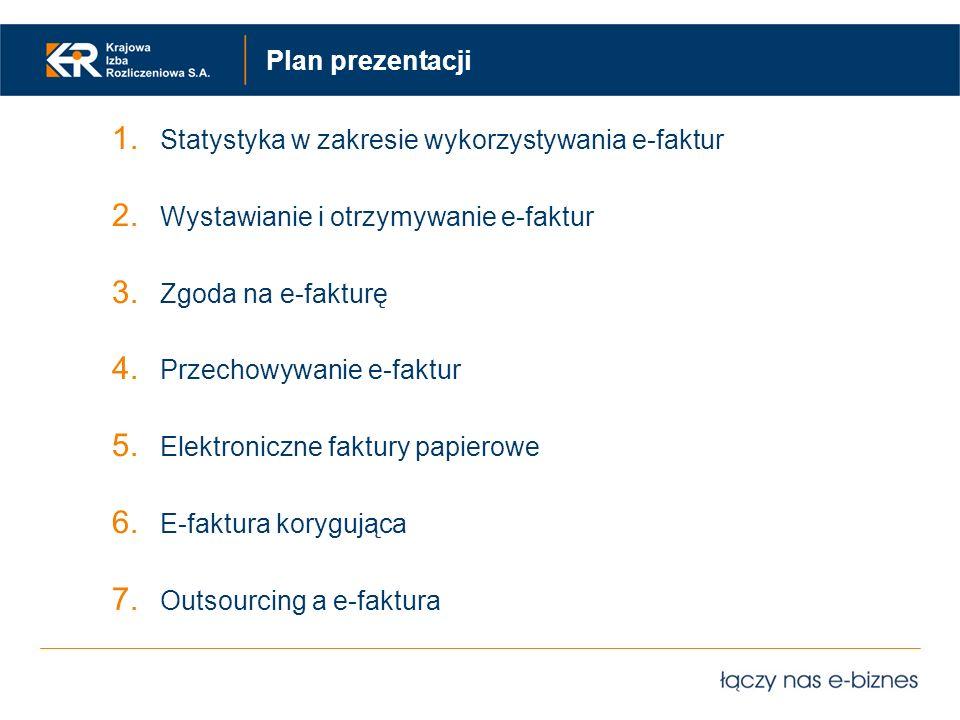 Plan prezentacji 1. Statystyka w zakresie wykorzystywania e-faktur 2. Wystawianie i otrzymywanie e-faktur 3. Zgoda na e-fakturę 4. Przechowywanie e-fa