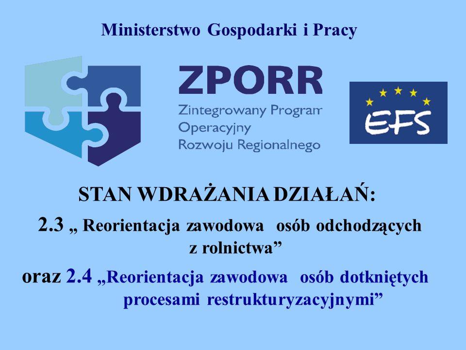 STAN WDRAŻANIA DZIAŁAŃ: 2.3 Reorientacja zawodowa osób odchodzących z rolnictwa oraz 2.4Reorientacja zawodowa osób dotkniętych procesami restrukturyzacyjnymi Ministerstwo Gospodarki i Pracy