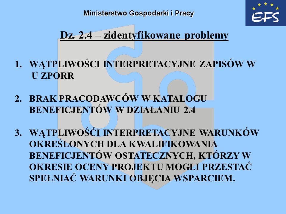 Dz. 2.4 – zidentyfikowane problemy 1.WĄTPLIWOŚCI INTERPRETACYJNE ZAPISÓW W U ZPORR 2.BRAK PRACODAWCÓW W KATALOGU BENEFICJENTÓW W DZIAŁANIU 2.4 3.WĄTPL