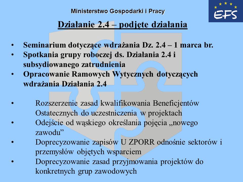 Działanie 2.4 – podjęte działania Seminarium dotyczące wdrażania Dz.