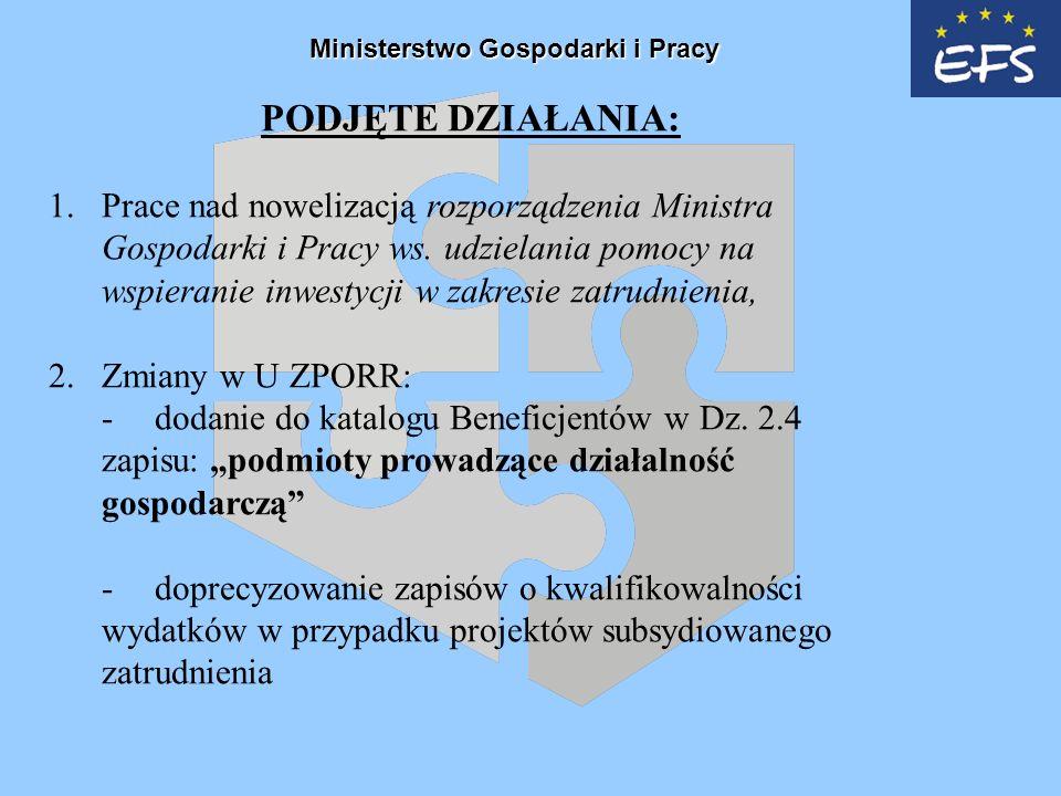 Ministerstwo Gospodarki i Pracy PODJĘTE DZIAŁANIA: 1.Prace nad nowelizacją rozporządzenia Ministra Gospodarki i Pracy ws.