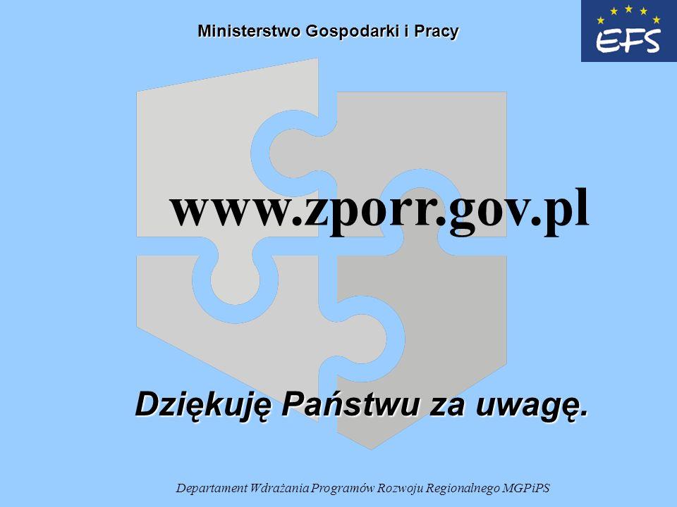 Departament Wdrażania Programów Rozwoju Regionalnego MGPiPS Dziękuję Państwu za uwagę.