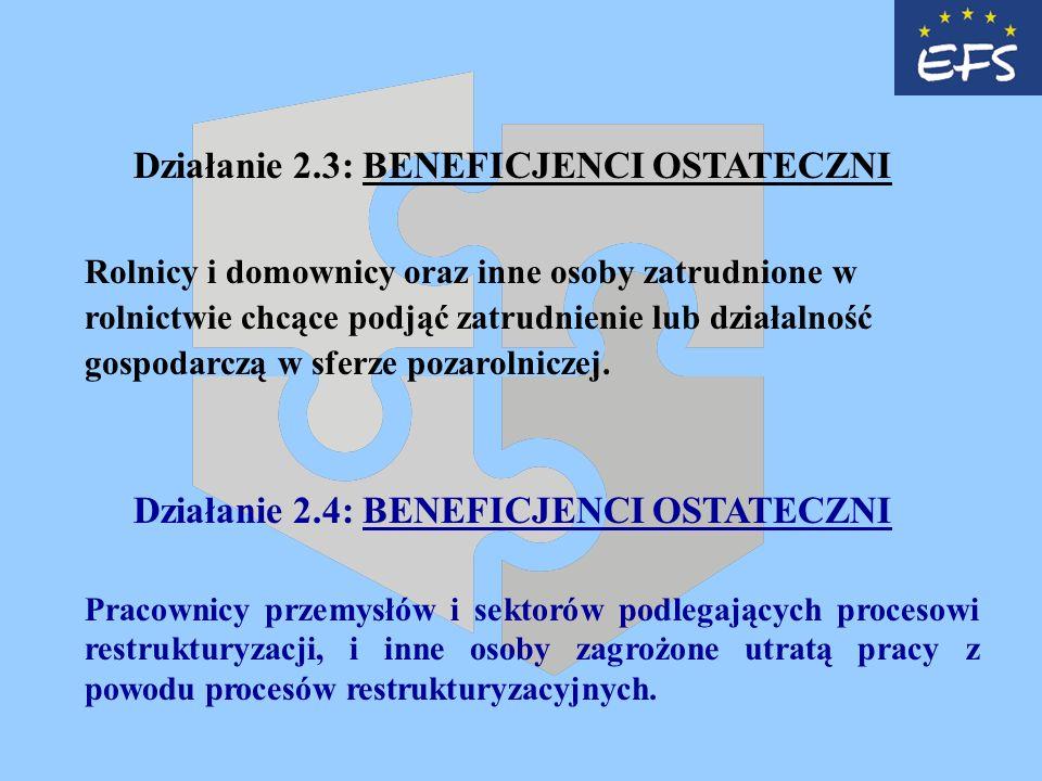 Działanie 2.3: BENEFICJENCI OSTATECZNI Rolnicy i domownicy oraz inne osoby zatrudnione w rolnictwie chcące podjąć zatrudnienie lub działalność gospodarczą w sferze pozarolniczej.