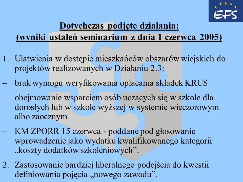 Dotychczas podjęte działania: (wyniki ustaleń seminarium z dnia 1 czerwca 2005) 1.Ułatwienia w dostępie mieszkańców obszarów wiejskich do projektów realizowanych w Działaniu 2.3: –brak wymogu weryfikowania opłacania składek KRUS –obejmowanie wsparciem osób uczących się w szkole dla dorosłych lub w szkole wyższej w systemie wieczorowym albo zaocznym –KM ZPORR 15 czerwca - poddane pod głosowanie wprowadzenie jako wydatku kwalifikowanego kategorii koszty dodatków szkoleniowych.