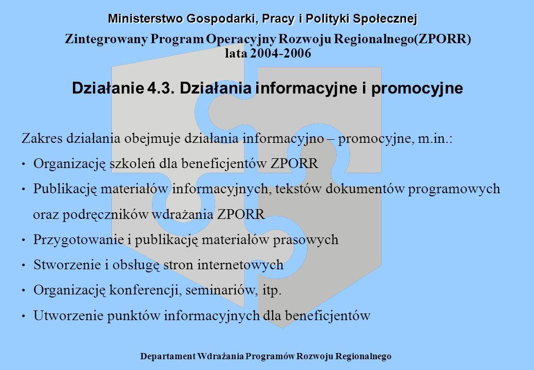 Departament Wdrażania Programów Rozwoju Regionalnego Zintegrowany Program Operacyjny Rozwoju Regionalnego(ZPORR) lata 2004-2006 Działanie 4.3.