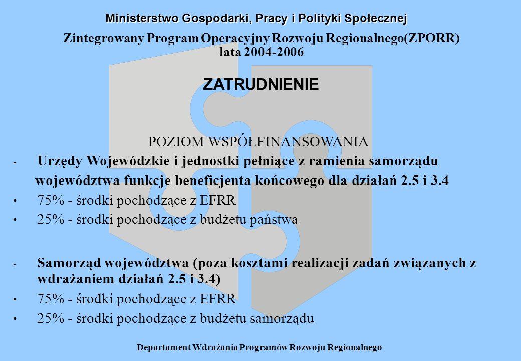 Departament Wdrażania Programów Rozwoju Regionalnego Zintegrowany Program Operacyjny Rozwoju Regionalnego(ZPORR) lata 2004-2006 ZATRUDNIENIE Ministerstwo Gospodarki, Pracy i Polityki Społecznej POZIOM WSPÓŁFINANSOWANIA - Urzędy Wojewódzkie i jednostki pełniące z ramienia samorządu województwa funkcje beneficjenta końcowego dla działań 2.5 i 3.4 75% - środki pochodzące z EFRR 25% - środki pochodzące z budżetu państwa - Samorząd województwa (poza kosztami realizacji zadań związanych z wdrażaniem działań 2.5 i 3.4) 75% - środki pochodzące z EFRR 25% - środki pochodzące z budżetu samorządu