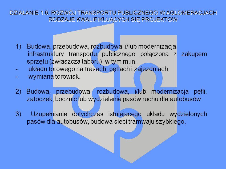 RODZAJE KWALIFIKUJĄCYCH SIĘ PROJEKTÓW 1)Budowa, przebudowa, rozbudowa, i/lub modernizacja infrastruktury transportu publicznego połączona z zakupem sp