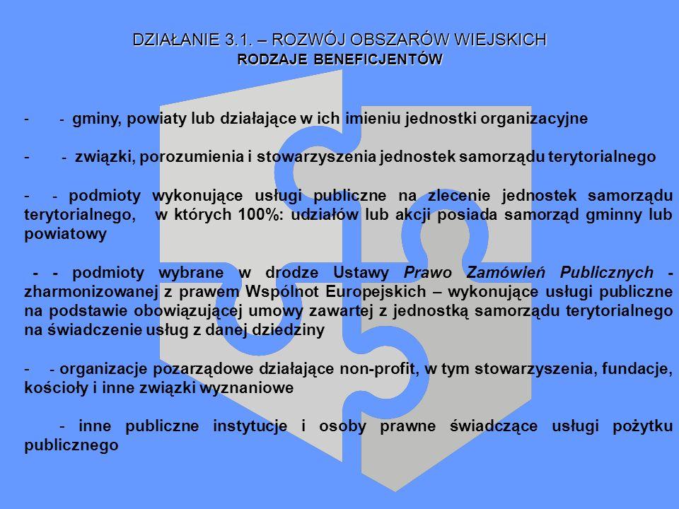 DZIAŁANIE 3.1. – ROZWÓJ OBSZARÓW WIEJSKICH RODZAJE BENEFICJENTÓW - - gminy, powiaty lub działające w ich imieniu jednostki organizacyjne - - związki,
