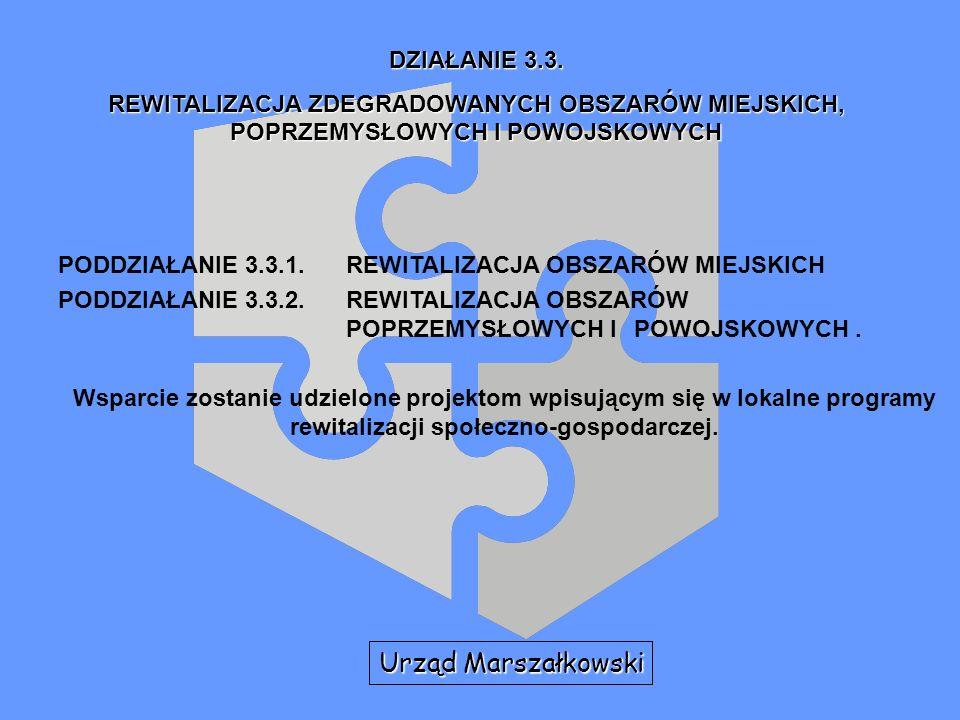 PODDZIAŁANIE 3.3.1.REWITALIZACJA OBSZARÓW MIEJSKICH PODDZIAŁANIE 3.3.2.REWITALIZACJA OBSZARÓW POPRZEMYSŁOWYCH I POWOJSKOWYCH. Wsparcie zostanie udziel