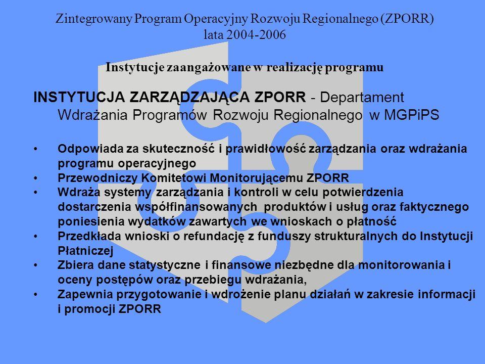 Zintegrowany Program Operacyjny Rozwoju Regionalnego (ZPORR) lata 2004-2006 Instytucje zaangażowane w realizację programu INSTYTUCJA ZARZĄDZAJĄCA ZPOR