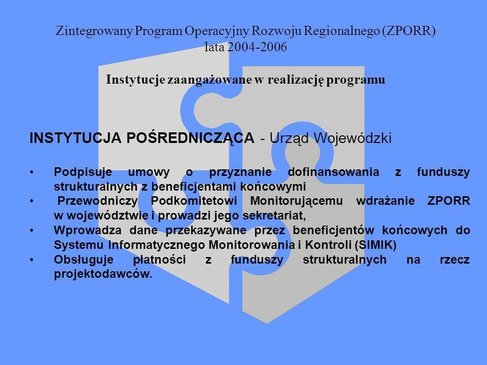Zintegrowany Program Operacyjny Rozwoju Regionalnego (ZPORR) lata 2004-2006 Instytucje zaangażowane w realizację programu INSTYTUCJA POŚREDNICZĄCA - U