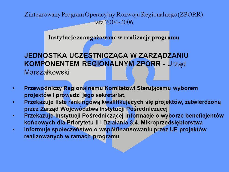 Zintegrowany Program Operacyjny Rozwoju Regionalnego (ZPORR) lata 2004-2006 Instytucje zaangażowane w realizację programu JEDNOSTKA UCZESTNICZĄCA W ZA