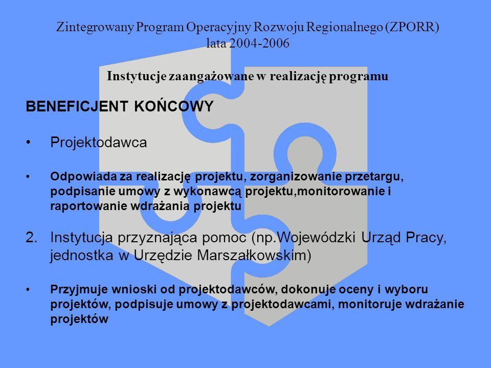 Zintegrowany Program Operacyjny Rozwoju Regionalnego (ZPORR) lata 2004-2006 Instytucje zaangażowane w realizację programu BENEFICJENT KOŃCOWY Projekto