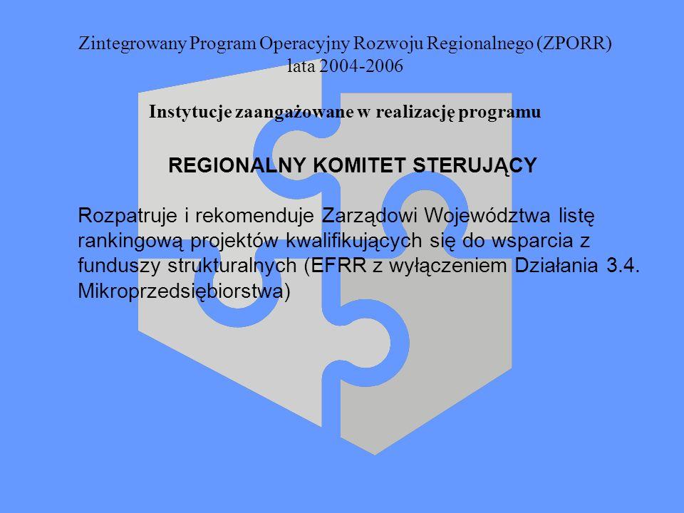 Zintegrowany Program Operacyjny Rozwoju Regionalnego (ZPORR) lata 2004-2006 Instytucje zaangażowane w realizację programu REGIONALNY KOMITET STERUJĄCY
